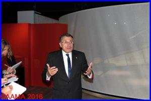 Gilles Aubagnac qui débute la visite presse