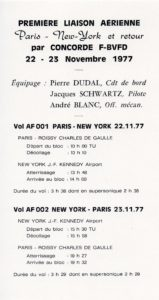 Concorde, FD, philatélique, premier vol New York/Paris, AF 1977 pli auto-collant carton