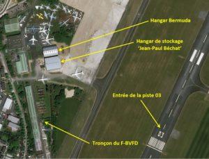 Concorde, FD, position du tronçon F-BVFD, vue aérienne, Dugny, Bourget
